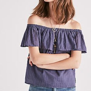 NWT Lucky Brand ruffle off the shoulder top